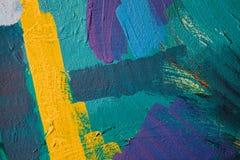 Χρωματισμένα κτυπήματα χρωμάτων αφηρημένη ανασκόπηση τέχνης Λεπτομέρεια ενός έργου της τέχνης Σύγχρονη τέχνη ζωηρόχρωμη σύσταση π Στοκ φωτογραφίες με δικαίωμα ελεύθερης χρήσης