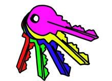 Χρωματισμένα κλειδιά Στοκ Εικόνες