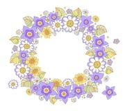 Χρωματισμένα λουλούδια γύρω από το πλαίσιο συγχαρητηρίων, τυποποιημένο σχέδιο VE Στοκ Εικόνες