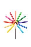 χρωματισμένα μολύβια λο&upsilon Στοκ εικόνες με δικαίωμα ελεύθερης χρήσης