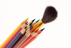 χρωματισμένα μολύβια ομάδας πυκνά Στοκ Φωτογραφία