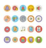 Χρωματισμένα μουσική διανυσματικά εικονίδια 6 Στοκ Εικόνες