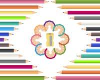Χρωματισμένα μολύβια με sharpener ελεύθερη απεικόνιση δικαιώματος