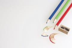 χρωματισμένα μολύβια που ακονίζονται Στοκ φωτογραφία με δικαίωμα ελεύθερης χρήσης
