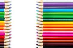 χρωματισμένα μολύβια στην άσπρη ανασκόπηση Στοκ Φωτογραφία