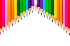 χρωματισμένα μολύβια στην άσπρη ανασκόπηση Στοκ Φωτογραφίες