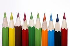 Χρωματισμένα μολύβια στο λευκό στοκ εικόνες