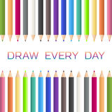 χρωματισμένα μολύβια Σύρετε ανατρέπει την ημέρα διανυσματική απεικόνιση