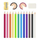 Χρωματισμένα μολύβια, sharpener, γόμα Σύρετε κάθε μέρα ελεύθερη απεικόνιση δικαιώματος