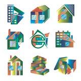Χρωματισμένα λογότυπα υπό μορφή σπιτιών Στοκ Φωτογραφίες