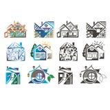 Χρωματισμένα λογότυπα υπό μορφή σπιτιών Στοκ Εικόνες