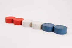 Χρωματισμένα οι ΗΠΑ τσιπ πόκερ χαρτοπαικτικών λεσχών Στοκ εικόνα με δικαίωμα ελεύθερης χρήσης