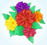 Χρωματισμένα λουλούδια με τα φύλλα Στοκ Φωτογραφίες