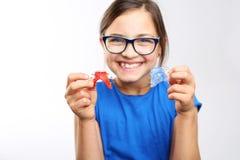 Χρωματισμένα οδοντικά στηρίγματα Στοκ Φωτογραφία