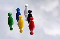 Χρωματισμένα παίζοντας κομμάτια παιχνιδιών Στοκ Φωτογραφία