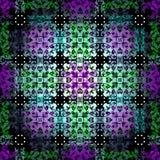;;;;;; χρωματισμένα περίληψη αντικείμενα ενάντια σε ένα αναδρομικά φωτισμένο άνευ ραφής διανυσματικό σχέδιο υποβάθρου Στοκ Εικόνες