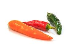 Χρωματισμένα πιπέρια πέρα από το άσπρο υπόβαθρο Στοκ Εικόνα