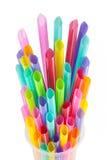 Χρωματισμένα πλαστικά άχυρα κατανάλωσης Στοκ εικόνα με δικαίωμα ελεύθερης χρήσης