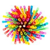 Χρωματισμένα πλαστικά άχυρα Στοκ Εικόνες