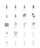 Χρωματισμένα σκάκι εικονίδια στο άσπρο υπόβαθρο Στοκ Εικόνα