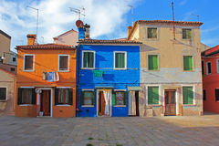 Χρωματισμένα σπίτια, Burano, Βενετία, Ιταλία Στοκ Εικόνα