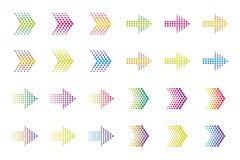 Χρωματισμένα στοιχεία βελών Ημίτοή επίδραση διανυσματική απεικόνιση