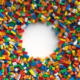 Χρωματισμένα τούβλα παιχνιδιών με τη θέση για το περιεχόμενό σας Στοκ Εικόνες
