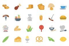 Χρωματισμένα τρόφιμα διανυσματικά εικονίδια 7 Στοκ εικόνες με δικαίωμα ελεύθερης χρήσης