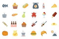 Χρωματισμένα τρόφιμα διανυσματικά εικονίδια 6 Στοκ Εικόνες