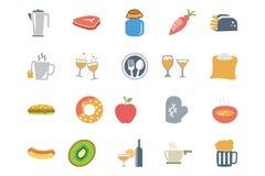 Χρωματισμένα τρόφιμα διανυσματικά εικονίδια 11 Στοκ εικόνα με δικαίωμα ελεύθερης χρήσης