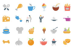Χρωματισμένα τρόφιμα διανυσματικά εικονίδια 4 Στοκ Εικόνα