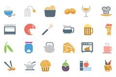 Χρωματισμένα τρόφιμα διανυσματικά εικονίδια 5 Στοκ Φωτογραφίες