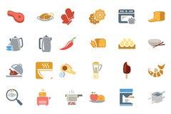 Χρωματισμένα τρόφιμα διανυσματικά εικονίδια 8 Στοκ Εικόνα