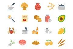 Χρωματισμένα τρόφιμα διανυσματικά εικονίδια 10 Στοκ φωτογραφία με δικαίωμα ελεύθερης χρήσης