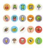 Χρωματισμένα τρόφιμα διανυσματικά εικονίδια 9 απεικόνιση αποθεμάτων