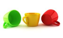 Χρωματισμένα φλυτζάνια Στοκ Φωτογραφίες