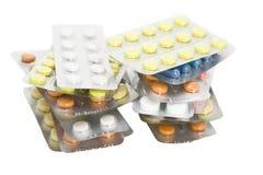 χρωματισμένα χάπια πακέτων στοκ εικόνες