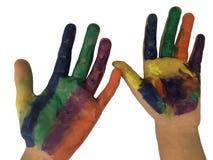 Χρωματισμένα χέρια με το watercolor που απομονώνεται στο άσπρο υπόβαθρο στοκ εικόνες