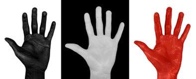 Χρωματισμένα χέρια 3 πακέτο - γη Καρδιά, κρανίο στοκ φωτογραφία με δικαίωμα ελεύθερης χρήσης