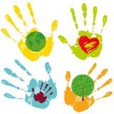 χρωματισμένα χέρια που τίθ&epsil Απεικόνιση αποθεμάτων