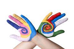 Χρωματισμένα χέρια Στοκ φωτογραφία με δικαίωμα ελεύθερης χρήσης