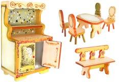 Χρωματισμένα χέρι ξύλινα έπιπλα κουζινών στοκ φωτογραφίες με δικαίωμα ελεύθερης χρήσης