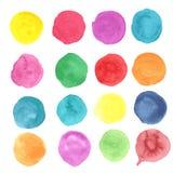 Χρωματισμένα χέρι σημεία Watercolor καθορισμένα Στοκ Φωτογραφία
