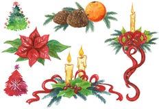 Χρωματισμένα χέρι στοιχεία Χριστουγέννων Στοκ εικόνα με δικαίωμα ελεύθερης χρήσης
