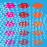 Χρωματισμένα χείλια με τους κύκλους Στοκ Φωτογραφία