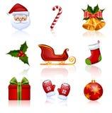 Χρωματισμένα Χριστούγεννα και νέα εικονίδια έτους. Διανυσματική απεικόνιση. Στοκ φωτογραφίες με δικαίωμα ελεύθερης χρήσης