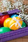 Χρωματισμένα χρωματισμένα αυγά σε ένα ιώδες καλάθι Στοκ Εικόνες