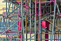Χρωματισμένα χρωματισμένα υλικά σκαλωσιάς Στοκ Εικόνα