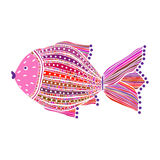 Χρωματισμένα ψάρια στο άσπρο υπόβαθρο Στοκ εικόνα με δικαίωμα ελεύθερης χρήσης