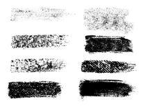 Χρωματισμένα grunge λωρίδες καθορισμένα Μαύρες ετικέτες, υπόβαθρο, κείμενο χρωμάτων διανυσματική απεικόνιση